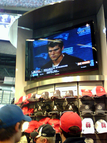 Cassel on TV in the Pro Shop